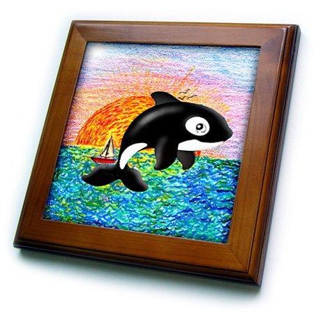 Whale Framed Tile - 3dRose ft_5729_1 Killer Whale Framed Tile, 8 by 8-Inch