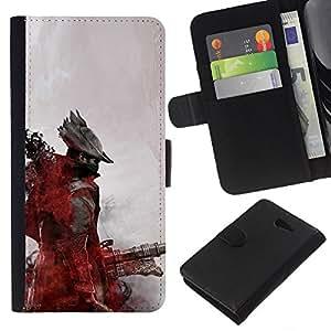 LECELL--Cuero de la tarjeta la carpeta del tirón Smartphone Slots Protección Holder For Sony Xperia M2 -- Futuro pirata --
