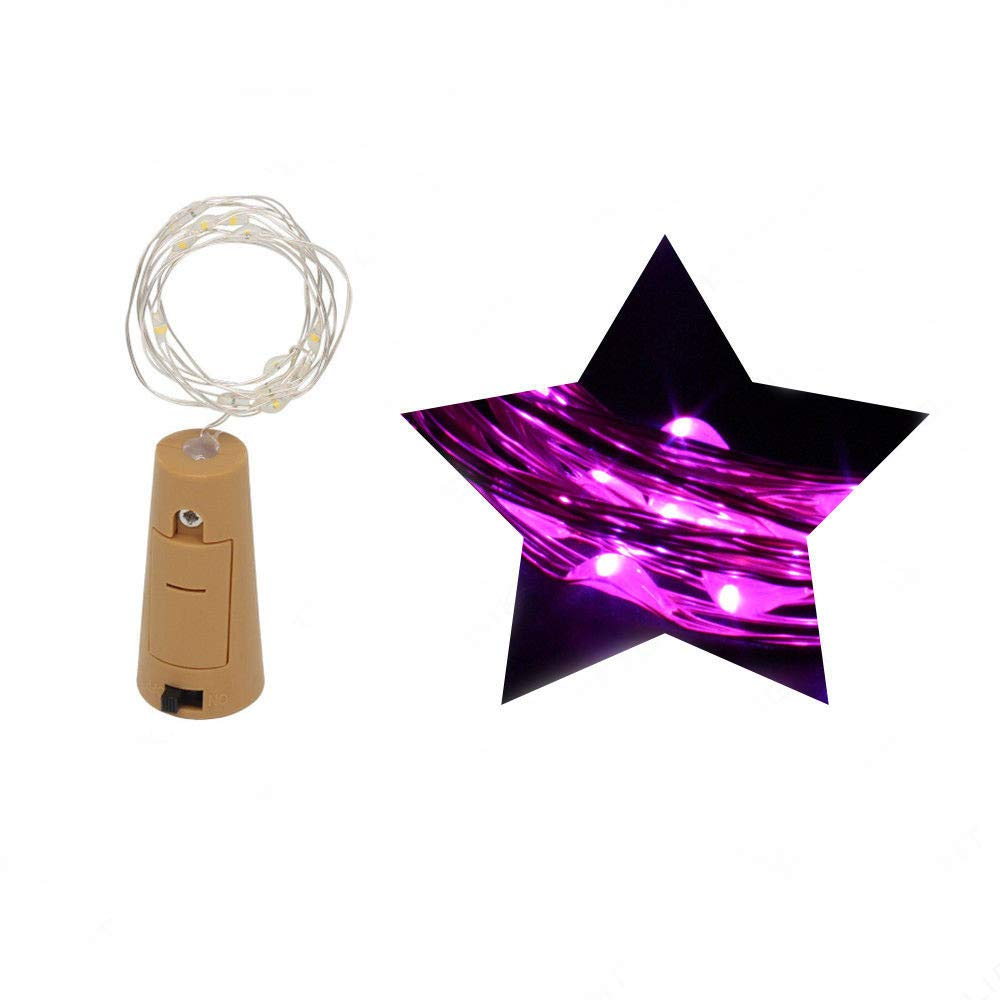 Clearance Tuscom 1M 10 LED Bottle Lights Cork Shape Wine Bottle Romantic LED String(7 Colors) (Purple)