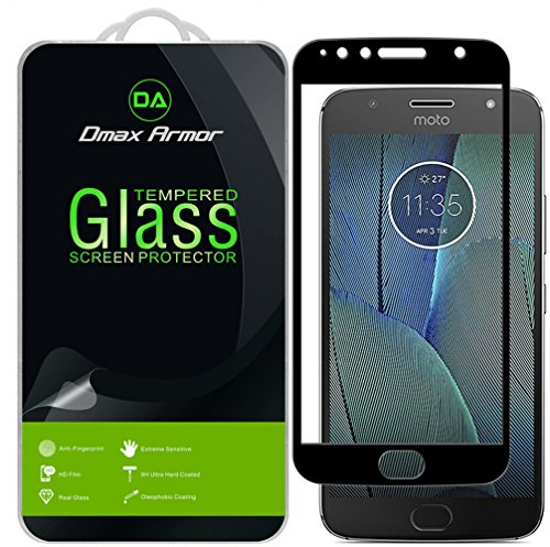 [2-Pack] Dmax Armor for Motorola Moto G5S Plus Screen Protector, (Full Screen Coverage) [Tempered Glass] Anti-Scratch, Anti-Fingerprint, Bubble Free, (Black)