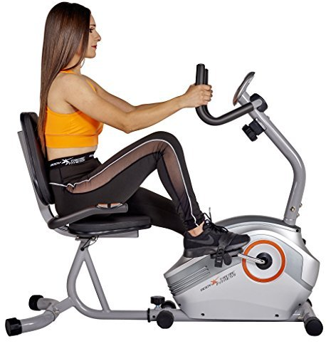 Body Xtreme Fitness Recumbent Bike BXF003 - Home Exercise Equipment, Silver/Orange, Magnetic Tension Recumbent Bike with Workout Goal Setting Computer! + BONUS COOLING TOWEL Body Xtreme Fitness USA