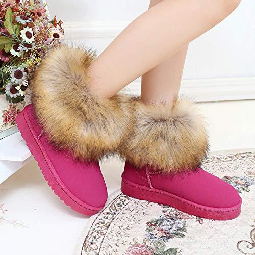 Inferior Una Antideslizantes Terciopelo De Plana Mujer Cabeza Nieve Shoe Piel Redonda Caliente Invierno Parte Femenina 黑色 Phy Zapatos Para Botas aPq6nFF8w
