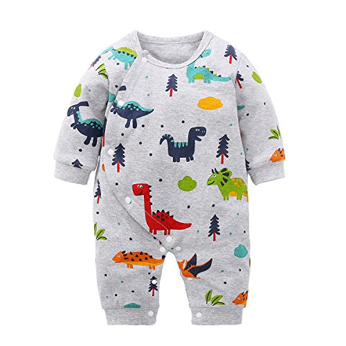 Cartoon One Piece (Yierying Baby Boys Girls Cartoon Dinosaurs 100% Cotton Baby Clothes Romper Bodysuit)
