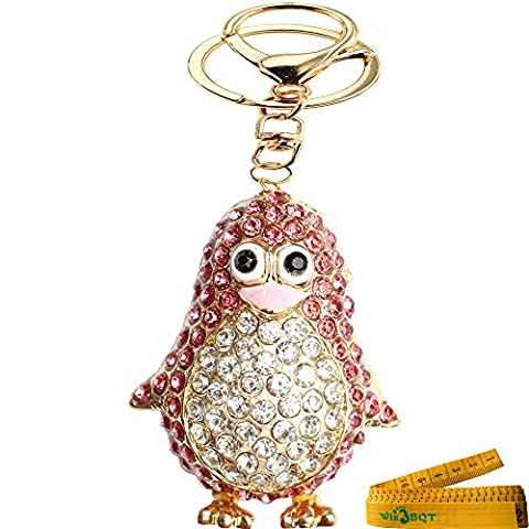 Bling Bling Crystal Rhinestone Graven 3D Cubic Penguin Shaped Metal Keychain Car Phone Purse Bag Decoration Holiday Gift (Rose - Apple Shaped Key