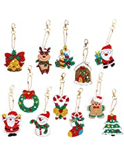 Christmas DIY Diamond Key Chain,5D DIY Diamond Painting Key Chain,Handmade Pendant Ornaments,Christmas Rhinestone Arts Crafts(12 pcs)
