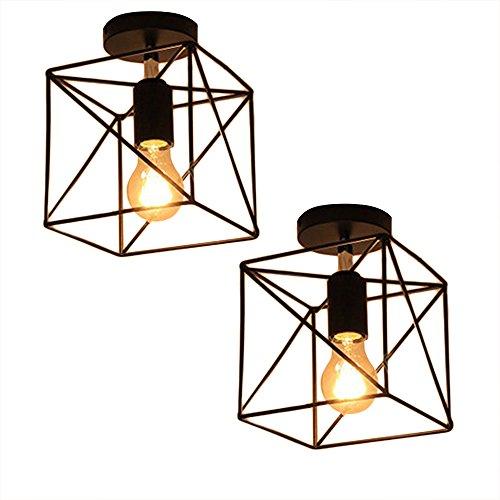 (Square Cage Ceiling Light, Motent 2pcs Industrial Vintage Wire Cage Drop Light Shade Black Semi Flush Mount Ceiling Lamp Fixture Creative Hollow Out Chandelier for Corridor Café Aisle - 6.2)