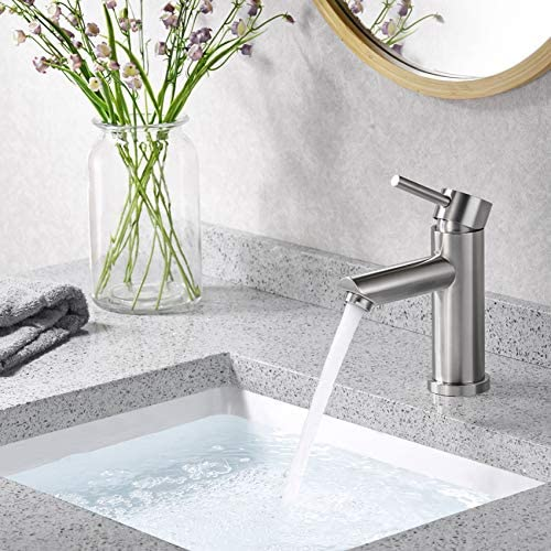 AMAZING FORCE Single Hole Bathroom Faucet Single Handle Bathroom Sink Faucet Brushed Nickel Stainless Steel Basin Mixer Tap – Sink Drain Deck Plate Not Included