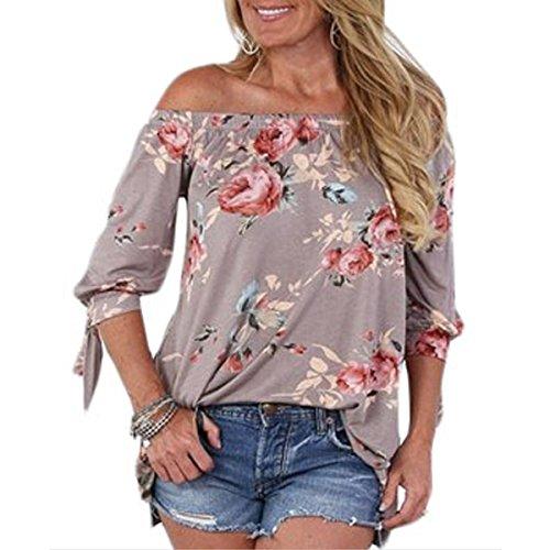 Plage Shirt Shirt Sexy Femme Manches L'paule T Kaki T 4 Mode Shirt Floral Blouse Femme 3 Tops TqZ5zZ