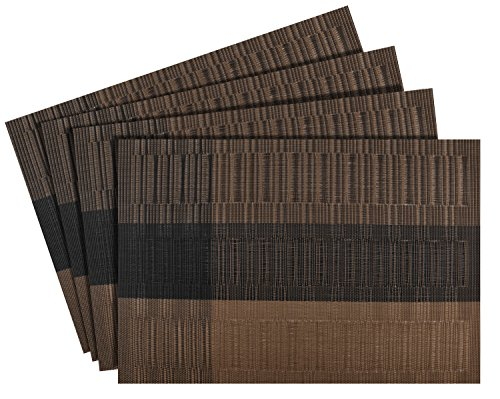 Nuovoware Placemats, [4 PACK] 30 x 45 cm Premium Exquisite Crossweave Stain Resistant Heat-resistant Non-slip Textilene Woven Plaid Kitchen Table Dining Mat Pads Place Mats, Coffee