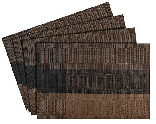 Nuovoware Placemats, [4 PACK] 30 x 45 cm Premium Exquisite Crossweave Stain Resistant Heat-resistant Non-slip Textilene Woven Plaid Kitchen Table Dining Mat Pads Place Mats, (Plaid Desk)