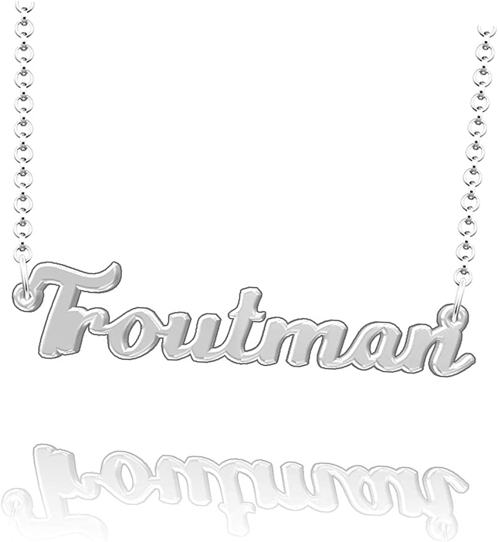 LoEnMe Jewelry Personalized Troutman Name Necklace Sterling Silver Plated Custom Made of Last Name Gift for Family