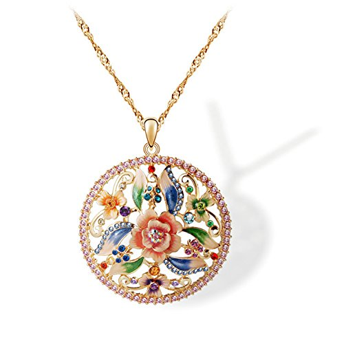 Fashionable Necklace Round Rose Shape of Oil Painting Long Pendant Necklaces for (India National Costume Men And Women)