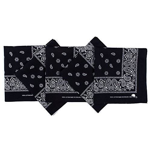 Original Elephant Brand Bandanas 100% Cotton Since 1898 - 5 Pack (Black)