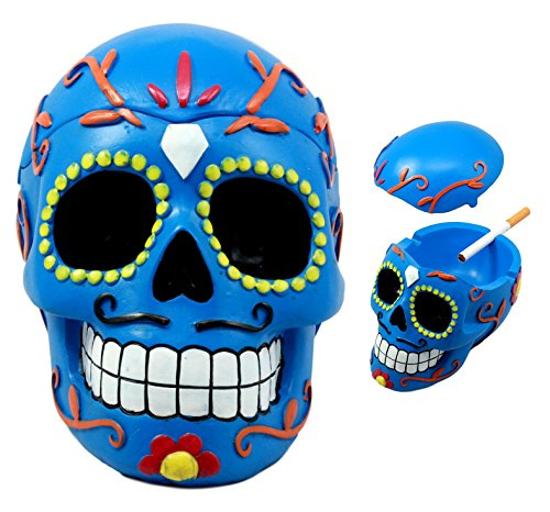 Ebros Dulce De Muerte Day of The Dead Blue Sugar Skull Ashtray Tribal Tattoo Skull Jewelry Box Figurine 6