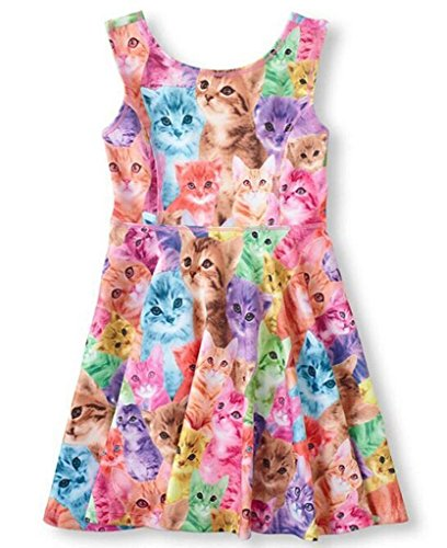 Jxstar Little Girl's sunny Classical Animals fashion Printed fiream Sleeveless Dress nnjxd Cat 150