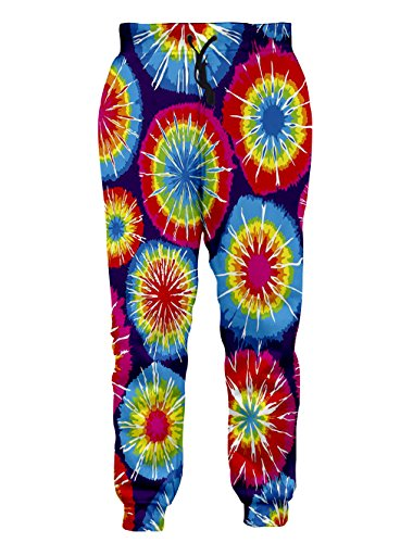 Hipster Print Tie (Leapparel Unisex colorful Tie Dyed Print Graphic Hipster Stylish Jogging Pants Sweatpants M)