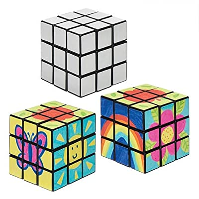 Baker Ross Colour-In Speed Cubes Puzzles (Pack Of 2) For Kids To Personalise: Home & Kitchen