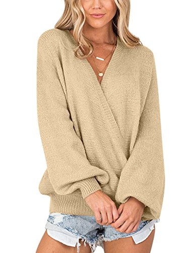 LookbookStore Women's Knit Long Sleeve Faux Wrap Surplice V Neck Sweater Top Apricot Size S (Fit US 4 - US ()