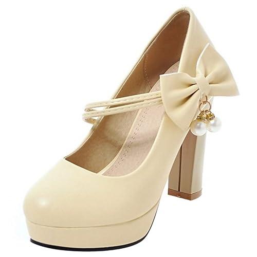 dc68c4f685 Coolcept Mujer Elegante Cerrado Tacon Ancho Alto Plataforma Vestido Court  Bombas Zapatos con Bowknot(33