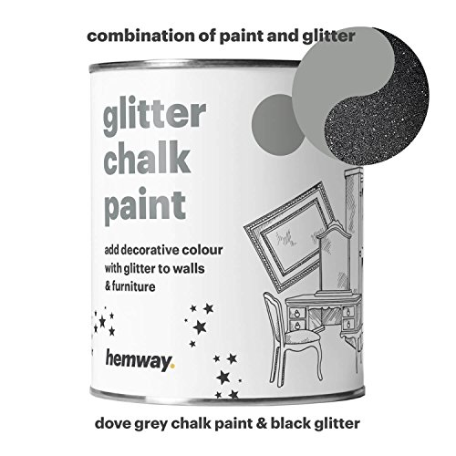 Hemway Dove Grey Chalk Paint (with Black Glitter) Sparkle Matt finish Wall and Furniture Paint 1L / 35oz Shabby Chic Vintage Chalky Crystal (25 Glittery Colours (Black Matt Paint)