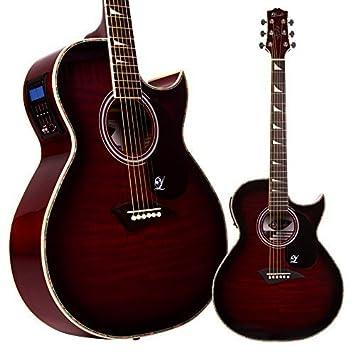 Guitarra electroacústica Lindo Org cuerpo normal con preamplificador y afinador en pantalla LCD y bolsa de transporte, color rojo brillante: Amazon.es: ...