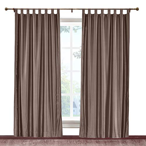 cololeaf Blackout Thermal Insulated Faux Silk Curtain Tab Top with White Lining,Light Blocking Drapery Panels for Living Room Bedroom Patio,Brown 120W x 102L Inch (1 panel) ()