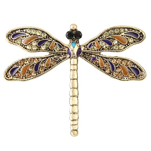 Enamel Dragonfly Pin - EVER FAITH Austrian Crystal Enamel Vintage Inspired Dragonfly Insect Animal Brooch Pin Brown Gold-Tone