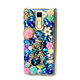 STENES LG Stylo 3 / LG Stylo 3 Plus Case - 3D Handmade Sparkly Crystal Bling Cover Hybrid Drop Bumper Protection Case with Retro Anti Dust Plug - Rhinestone Pretty Cat Crown Rose Flowers/Blue