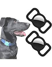 2 Pack- Air Tag Case Protective Cover for Apple AirTag by Wild WIllow Pet Dog Cat Collar Anti-Lost GPS Tracker Loop Protector for Air Tag (Black/Black)