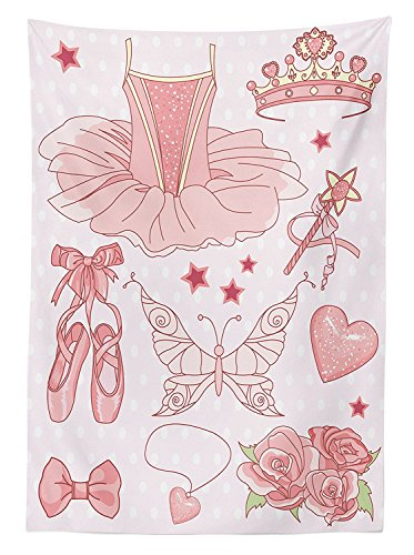 Teen Girls Decor Tablecloth Set Of Princess Ballerina Accessories Classic Costume Shoes Tiara Roses Dining Room Kitchen Rectangular Table (Teen Polka Dot Clown Costume)