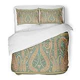 SanChic Duvet Cover Set Abstract Paisley Indian Arab Arabesque Arabian Arabic Asian Decorative Bedding Set 2 Pillow Shams King Size