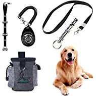 Puppy Training Set 4 Pcs Adjustable Puppy Doorbells for Dogs Training Treats Bag Whistle to Control Stop Barking Pet Trainer Dog Training Clicker (Black)