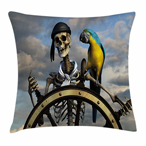 """Ambesonne Pirate Throw Pillow Cushion Cover, Skeleton Corsair Captain on Steering Wheel Exotic Macaw Parrot Bandit Cloudy Sky, Decorative Square Accent Pillow Case, 20"""" X 20"""", Blue Grey"""