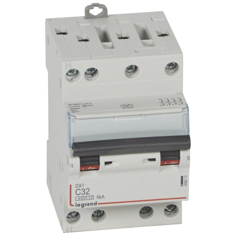 Legrand LEG406913 Disjoncteur dx 4500 Vis/Vis 4P 400 V 32 A 6 kA Courbe C 3 m Protection tableau electrique coupe circuit sectionneur contacteur inter diff interrupteur differentiel declencheur telerupteur parafoudre inter horaire sonnerie minuterie