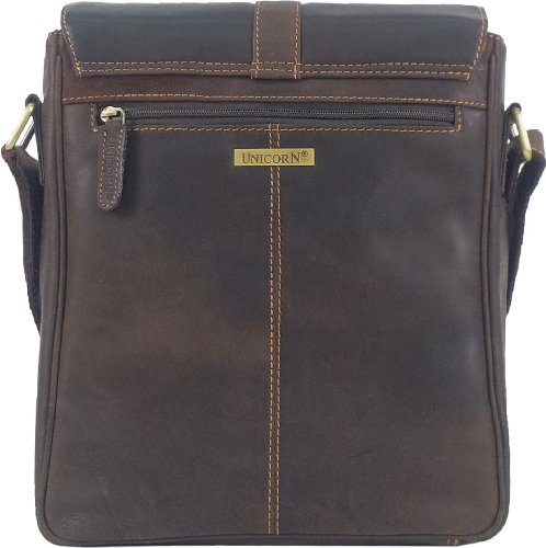 UNICORN Réel en cuir Brun ipad , Ebook ou Tablets Messager Sac - Messenger Bag #5J