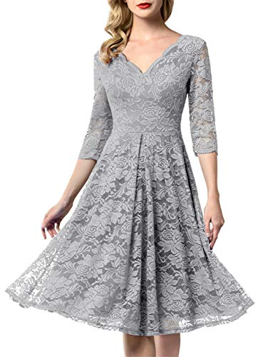 AONOUR 0056 Women's Vintage Floral Lace Bridesmaid Dress 3/4 Sleeve Wedding Party Midi Dress Grey M (Best Tea Length Wedding Dresses)