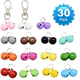 Barleygoo 30 Pack Pet Cat Collar Bells, Strong Loud Dog Collar Bells for Potty Training, Colourful Cat Charm Bells for Collars Necklace Pendant