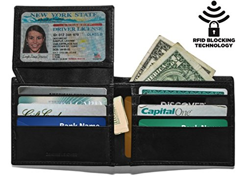 Wallet Leather 2 Black (MUNDI RFID Slim Mens Leather Wallet Extra Capacity Bifold Wallet Two Cash Pockets Flip ID Window, Black, Slim)