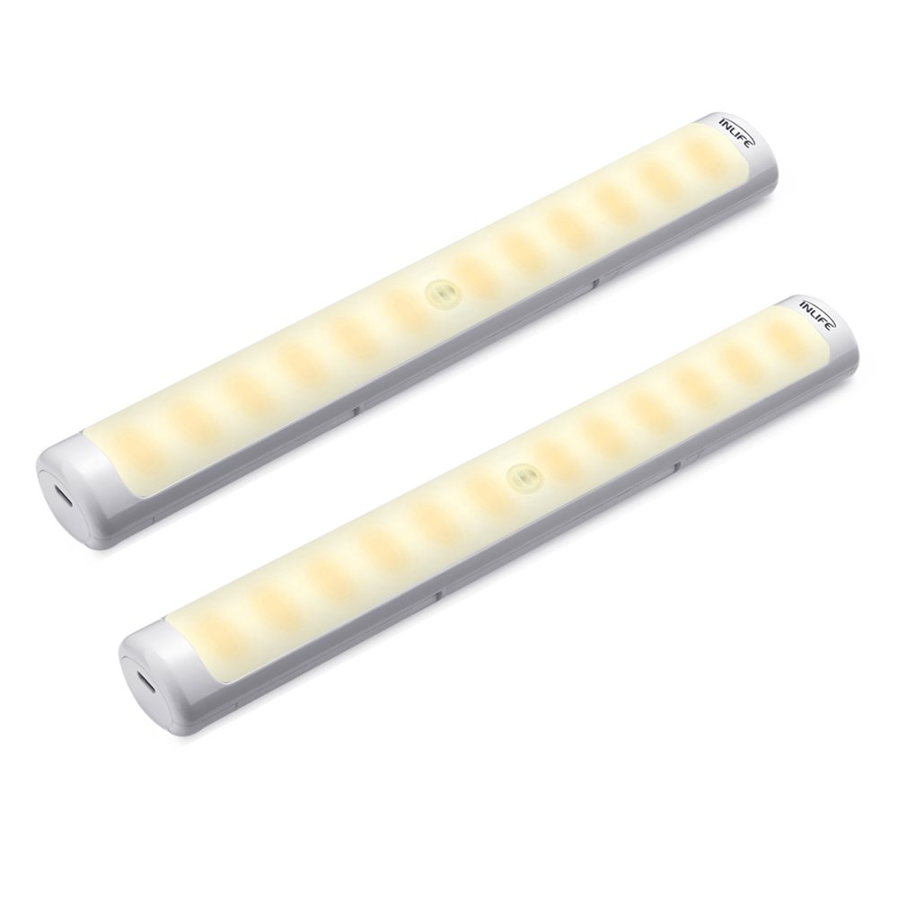 INLIFE 2 Pack Portable Wireless LED Light Under Cabinet Lighting Motion Sensor Activated Light with Rechargeable Battery for Closet, Cabinet, Kitchen