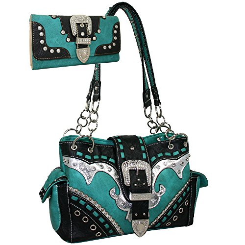 - Western Rhinestone Buckle Accent Purse Handbag With Matching Wallet - Turquoise