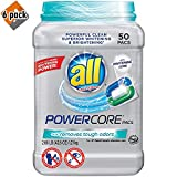 all Powercore Pacs Laundry Detergent Plus Removes Tough Odors, Tub, 50 Count - Pack of 6