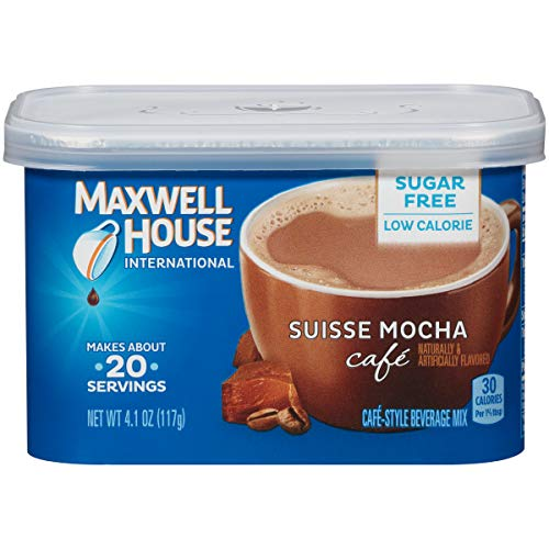 Maxwell House International Cafe Flavored Instant Coffee, Suisse Mocha, Sugar Free, 4.1 Ounce Canister (Pack of 4) (House Coffee Mocha)