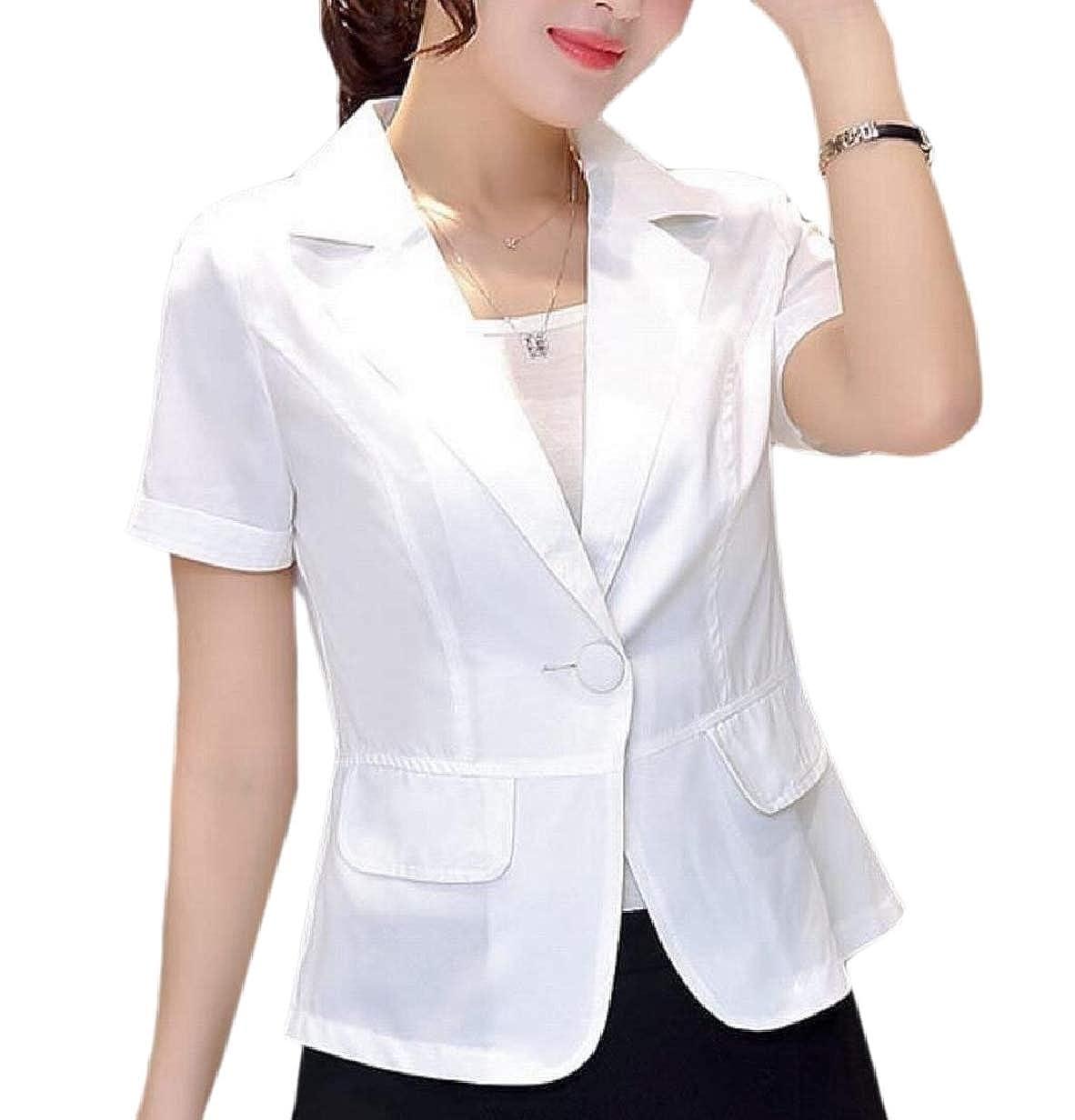 CBTLVSN Women One Button Business Short Sleeve Work OL Blazer Suit Jackets