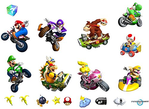 Decorations Wall Kart Mario Removable Wii (Mario Kart Wii Removable Wall)
