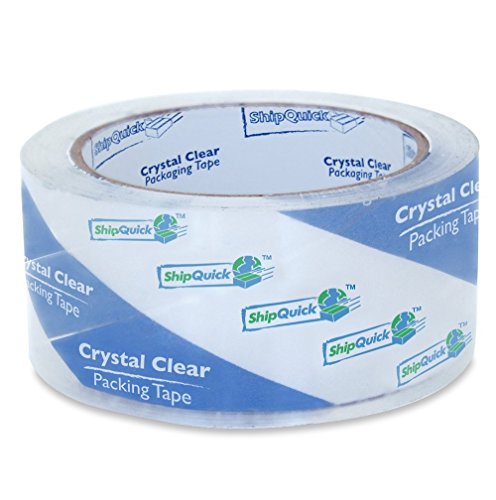 Crystal Clear Packing Tape - ShipQuick Packaging Tape for Industrial and Professional Shipping. Great for Moving. Strong Adhesive Shipping Tape That's Split-Resistant! (Single Roll, No Dispenser)