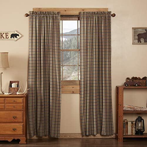 VHCBS Rustic Lodge Window Wyatt Tan Curtain Panel Pair, Set 84×40