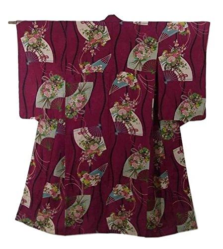 例外プラグ疑い者アンティーク 着物 正絹 袷 立涌文や扇面に花薬玉や花車 裄62cm 身丈144cm