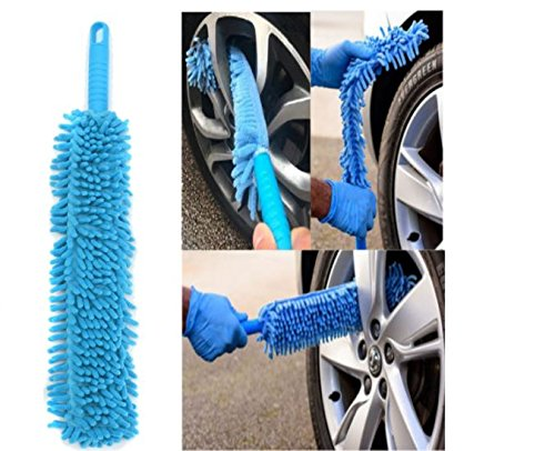 Car Cleaning Brush Flexible Long Mircofibre Noodle Chenille Alloy Wheel Cleaner Car Wash Brush by (Noodle Brush)