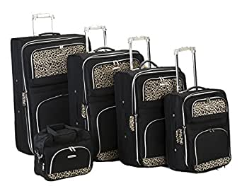 Rockland 5 Piece Luggage Set, Black, One Size