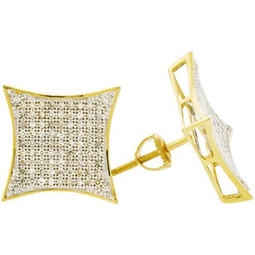 Big Diamond Earrings (Men's 10k Two Tone Gold Diamond Hip Hop Kite Earrings (0.50ctw, I-J Color, I2-I3 Clarity), 13mm)